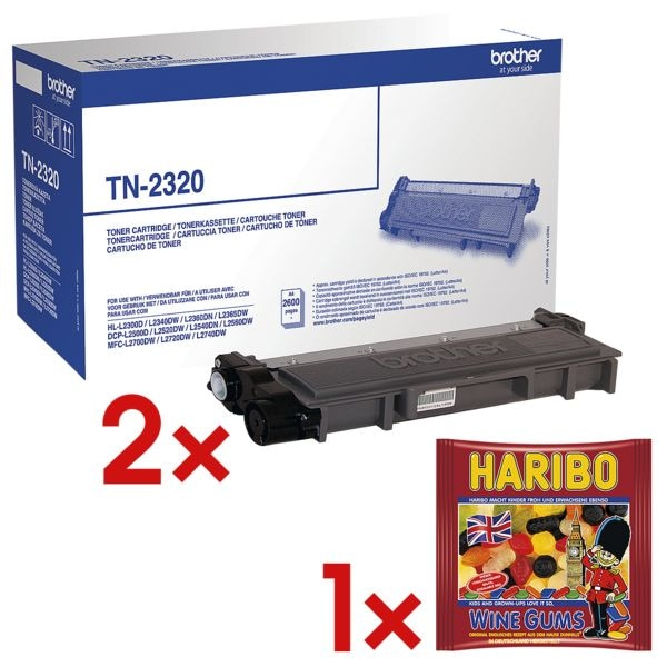 Brother 2x Toner »TN-2320« inkl. 1x Fruchtgummi »Wine Gums«