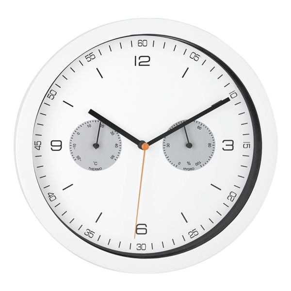 Mebus Quarz-Wanduhr mit Hygro- und Thermometer 16101 Ø 26,5 cm
