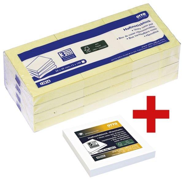 12x OTTO Office Haftnotizblock 5 x 4 cm, 1200 Blatt gesamt, pastellgelb inkl. Haftnotizblock 75 x 75 mm weiß