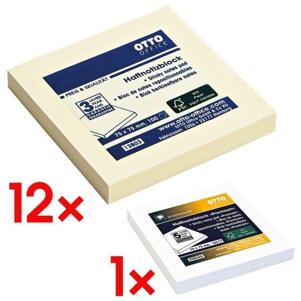 12x OTTO Office Haftnotizblock 7,5 x 7,5 cm, 1200 Blatt gesamt, gelb inkl. Haftnotizblock 75 x 75 mm weiß