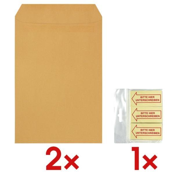2x 250 Natron-Versandtaschen, C4 90 g/m² ohne Fenster inkl. Haftmarker »Bitte hier Unterschreiben« 70 x 35 mm