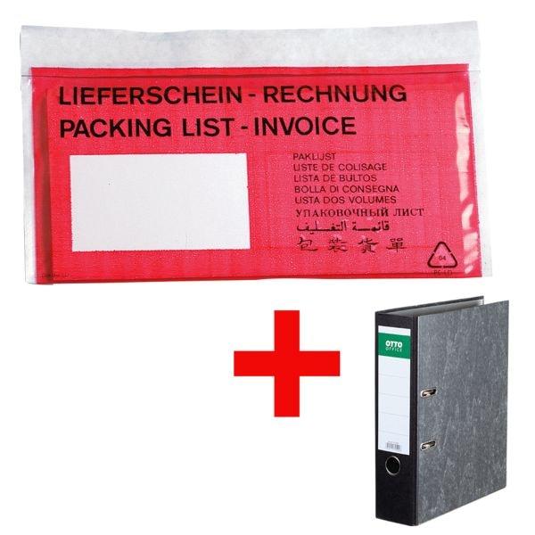 OTTO Office Dokumenten- & Lieferscheintaschen signalrot DIN Lang 1000 Stück inkl. Ordner »Classic«