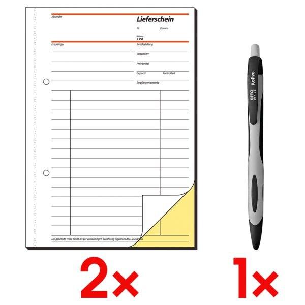 Sigel 2x Formularbuch »Lieferschein mit Empfangsschein« SD011 inkl. 1x Kugelschreiber »Active«