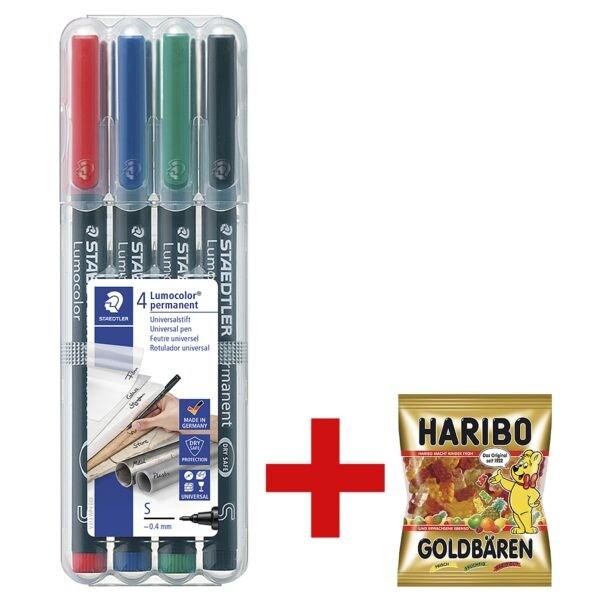 STAEDTLER Universalstift Lumocolor permanent - Rundspitze, Strichstärke 0,4 mm (S) inkl. Fruchtgummi »Goldbären« 200 g