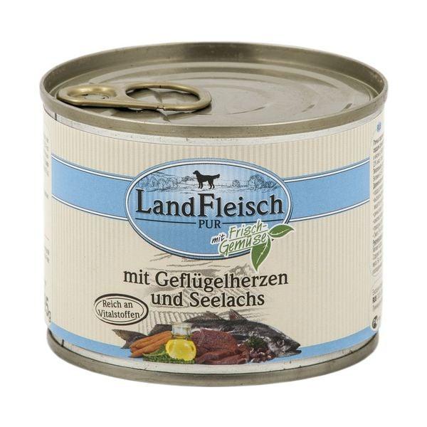 LandFleisch Nassfutter »Pur« mit Geflügelherzen, Seelachs und Frischgemüse (1x 195 g)