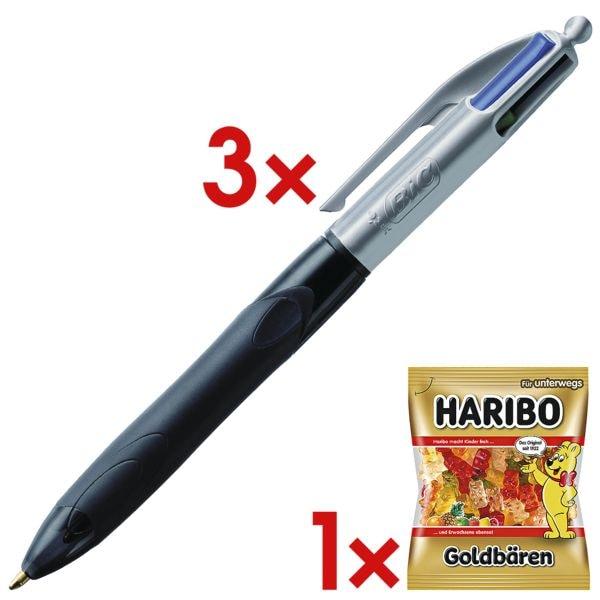 3x Mehrfarb-Kugelschreiber BIC 4 Colours Grip Pro, dokumentenecht, inkl. Fruchtgummi »Goldbären«