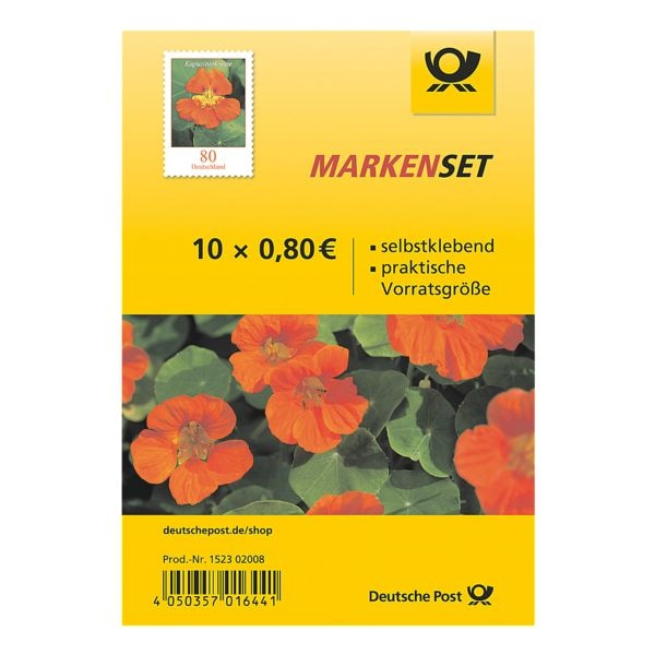 Deutsche Post Markenset Kapuzinerkresse, 10x Briefmarke zu 0,80 € selbstklebend