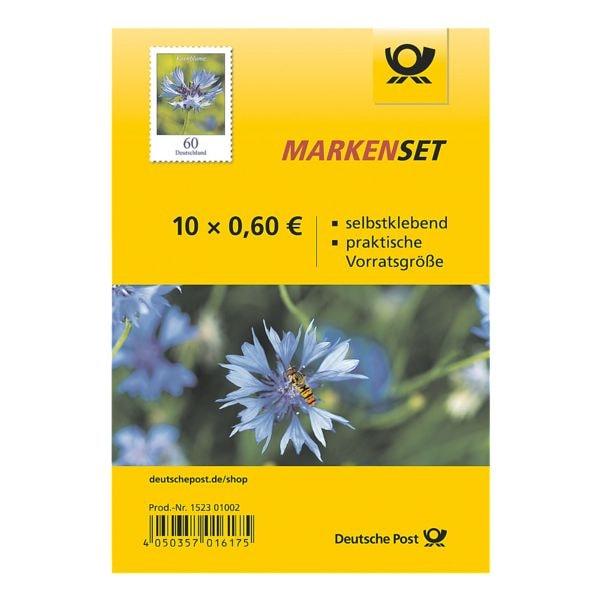 Deutsche Post Markenset Kornblume, 10x Briefmarke zu 0,60 € selbstklebend