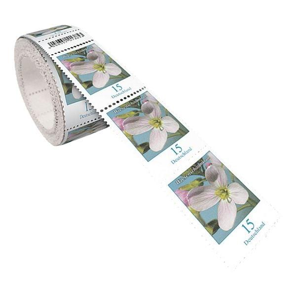 Deutsche Post Briefmarkenrolle Wiesenschaumkraut, 200x Ergänzungsbriefmarke zu 0,15 € nassklebend