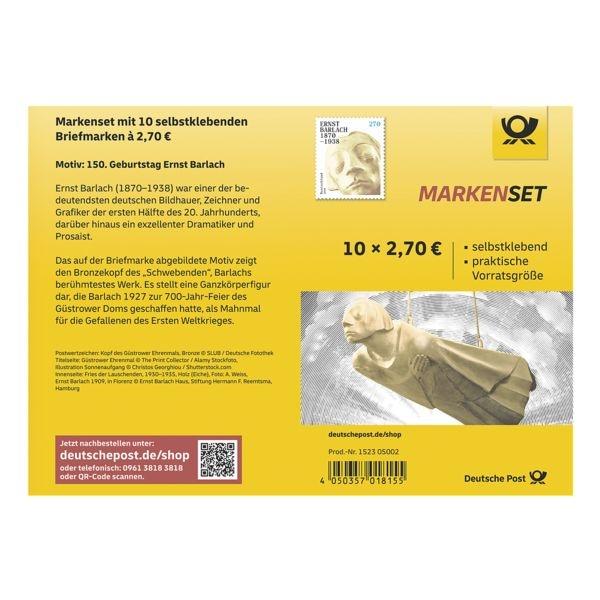 Deutsche Post Markenset Ernst Barlach, 10x Briefmarke zu 2,70 € selbstklebend