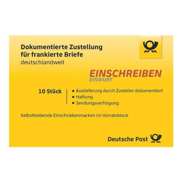 Deutsche Post Einschreiben Einwurf, 10x im Block selbstklebend