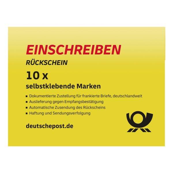 Deutsche Post Einschreiben Rückschein, 10x im Block selbstklebend