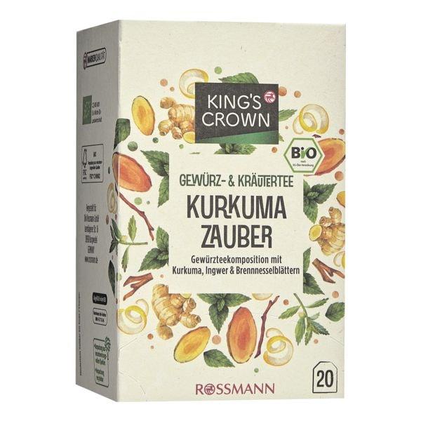 Kings Crown Bio Gewürz- & Kräutertee »Kurkuma Zauber« Tassenportion, 20er-Pack