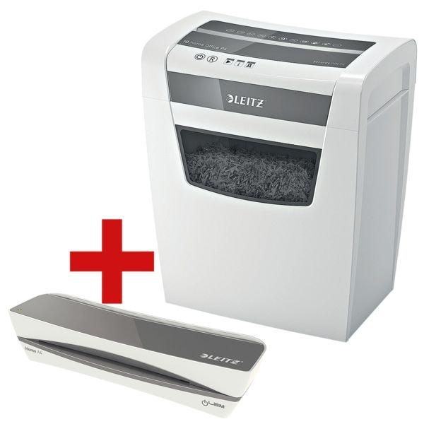 Aktenvernichter LEITZ Home Office P4, Sicherheitsstufe 4, Partikelschnitt (4 x 28 mm), bis 10 Blatt inkl. Laminiergerät Home A4 »iLAM Home«