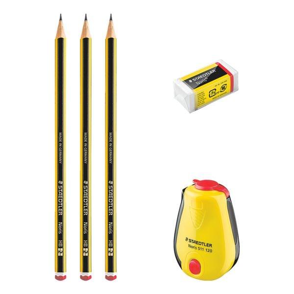 Staedtler 3er-Set Bleistifte »Noris 120 HB« inkl. Radierer und Spitzdose