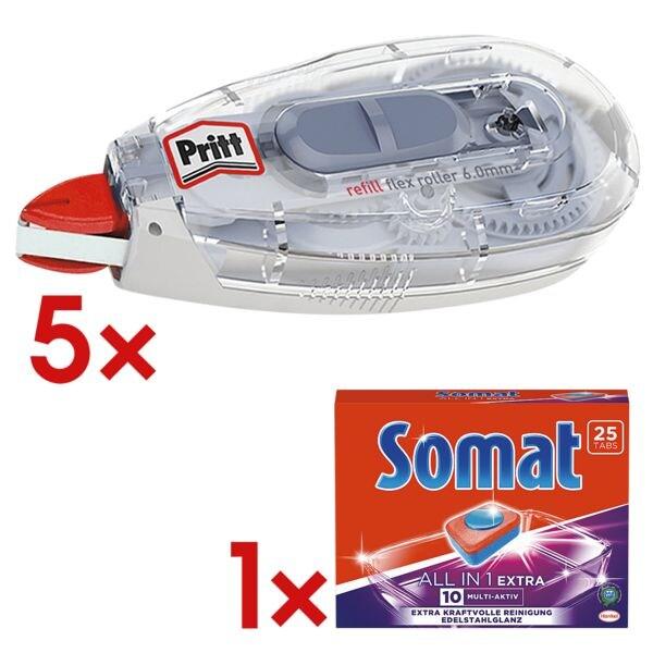 5x Pritt Nachfüllbarer Korrekturroller Refill Flex, 6 mm / 12 m inkl. Geschirrspültabs »Somat All in 1 Extra«