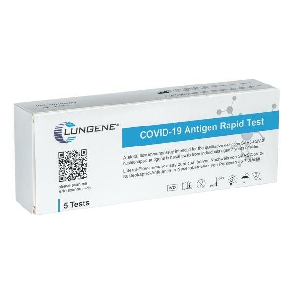 Clungene 5er-Pack SARS-CoV-2 Laien-Antigen-Schnelltest per Nasenabstrich