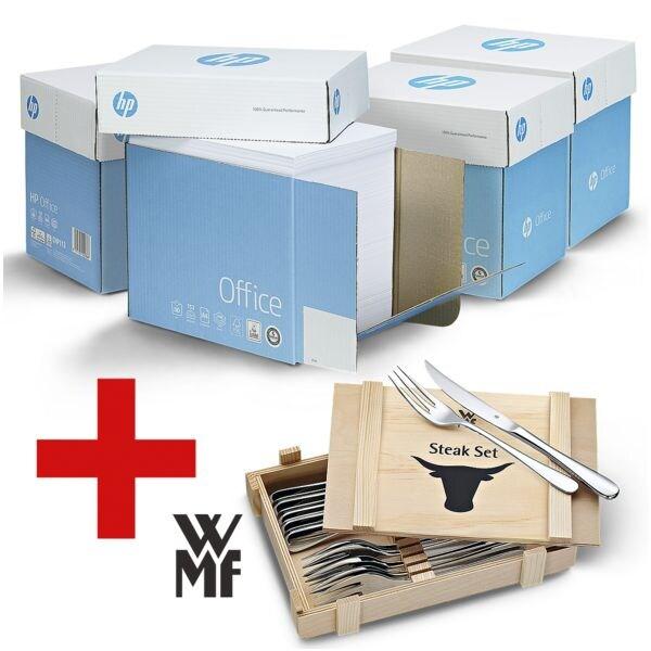 4x Öko-Box Multifunktionspapier A4 HP Office - 10000 Blatt gesamt inkl. 12-teiliges Steakbesteck-Set »Nuova« mit Holzkiste