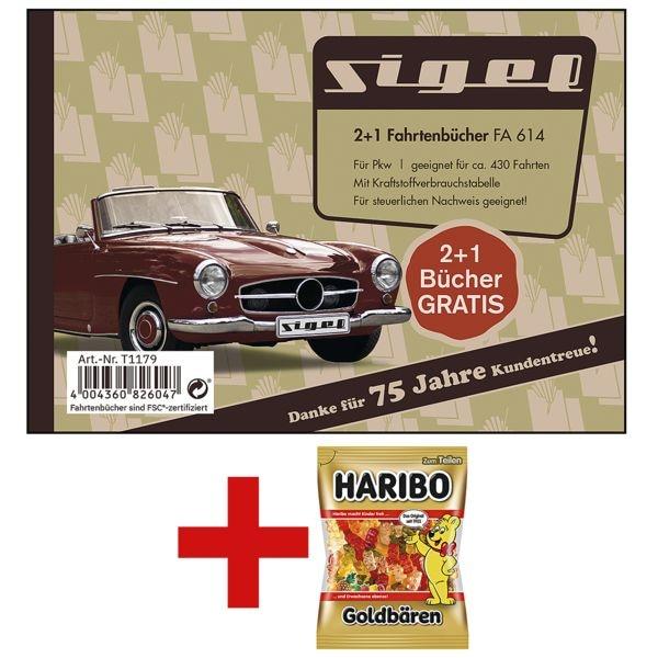 Sigel 3x Fahrtenbuch »FA614« (A6 quer) inkl. Fruchtgummi »Goldbären« 200 g