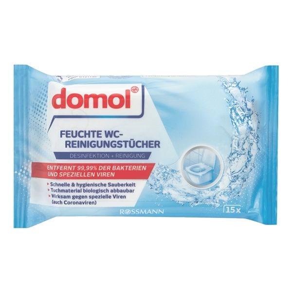 domol 15er-Pack Feuchte WC-Reinigungstücher