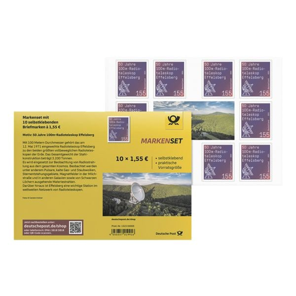 Deutsche Post Markenset Radioteleskop Effelsberg, 10x Briefmarke zu 1,55 € selbstklebend