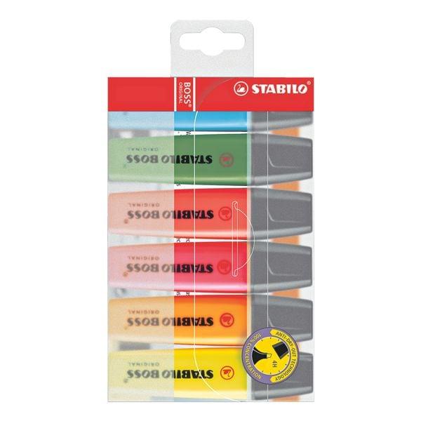 6x STABILO Textmarker BOSS® Original, nachfüllbar, Keilspitze
