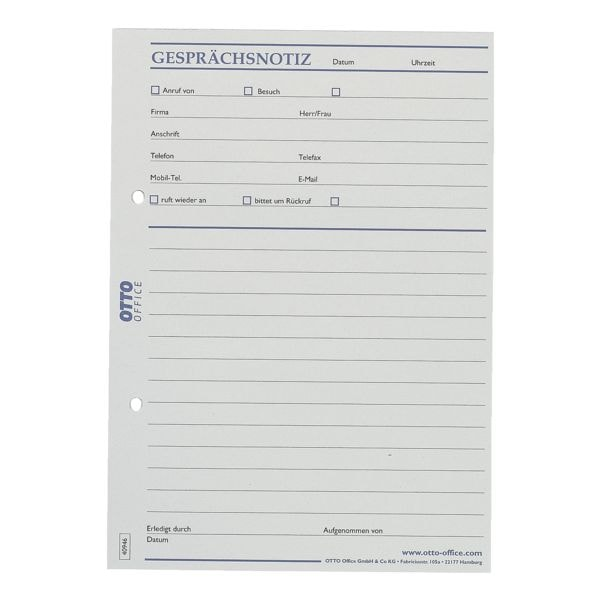 OTTO Office Formularvordrucke »Gesprächsnotiz«, Recyclingpapier 60 g/qm