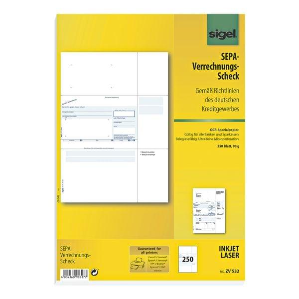 Sigel PC-SEPA-Verrechnungs-Scheck ZV532