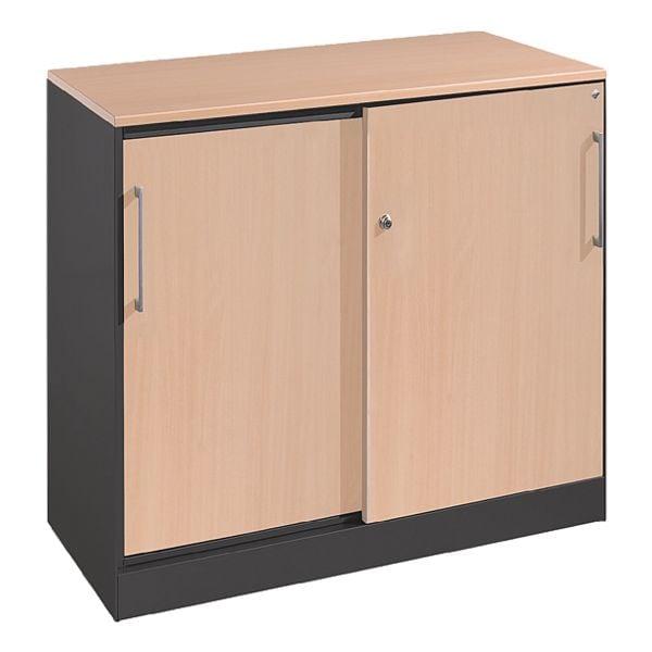 cp stahlschrank asisto abschlie bar 100 x 90 cm schiebet r stahl holz bei otto office. Black Bedroom Furniture Sets. Home Design Ideas
