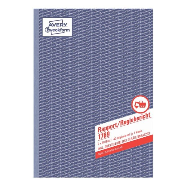 Avery Zweckform Formularbuch »Rapport/Regiebericht«