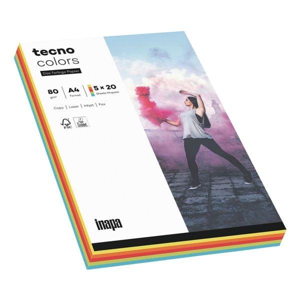 Multifunktionales Druckerpapier A4 Inapa tecno Rainbow / tecno Colors - 100 Blatt gesamt
