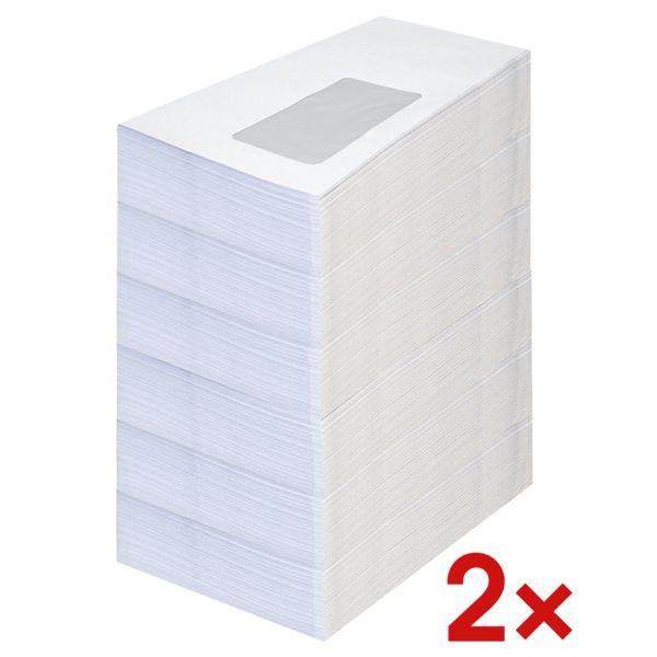 Briefumschläge, DL 75 g/m² mit Fenster - 2000 Stück