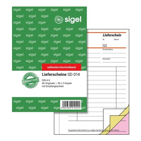 sigel formularbuch lieferschein mit empfangsschein sd014. Black Bedroom Furniture Sets. Home Design Ideas