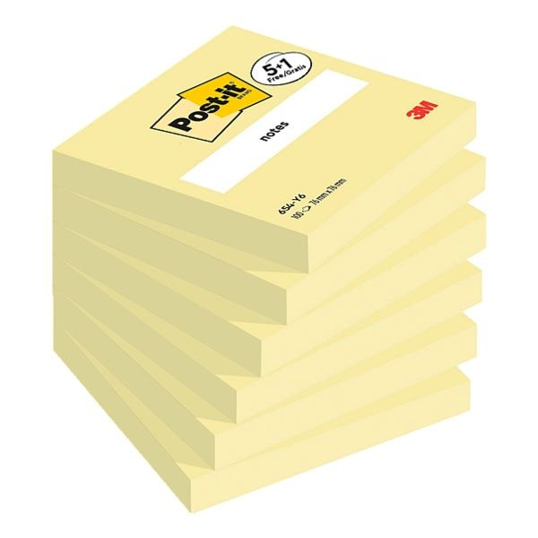 5+1 Post-it Notes Haftnotizblock Notes 654 7,6 x 7,6 cm, 600 Blatt gesamt, gelb