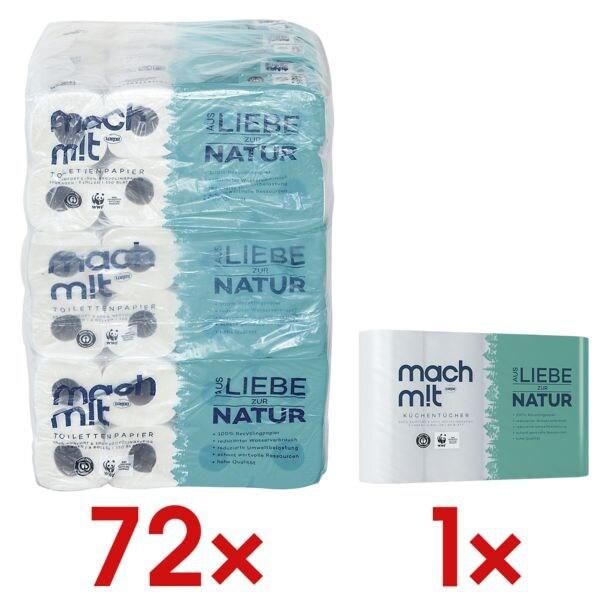 wepa Mach mit… Toilettenpapier Mach mit...! 3-lagig, hochweiß - 72 Rollen (9 Pack à 8 Rollen) inkl. Küchenrollen 3-lagig, 4 Rollen