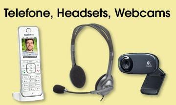 Telefone, Headsets und Webcams